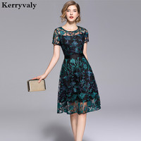Summer Green Flowers Embroidered Dress Zomerjurken 2018 Dames Lace Mesh Midi Party Dress Tunique Femme Strand Jurkjes K6318