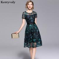 Summer Green Flowers Embroidered Dress Zomerjurken 2018 Dames Lace Mesh Midi Party Dress Tunique Femme Strand Jurkjes K6318