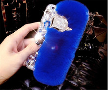 Luxury Rabblit Fur Diamond Fox Rhinestone Cell Phone Case For Samsung Galaxy J3 J5 J4 J6 J7 J8  A6 A8 Plus 2018 A7 A5 Capa