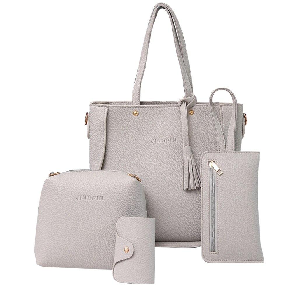 60332fef5 4 pcs Moda Mulheres Borlas Saco Titular do Cartão da Carteira Bolsa  Crossbody Bag Set bolsas de luxo mulheres sacos designer de alta qualidade
