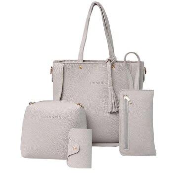 d7a5e8d08 4 piezas moda bolso de mujer borlas cartera titular de la tarjeta, bolso  bolsa de bolsos de las mujeres bolsos de diseñador de alta calidad