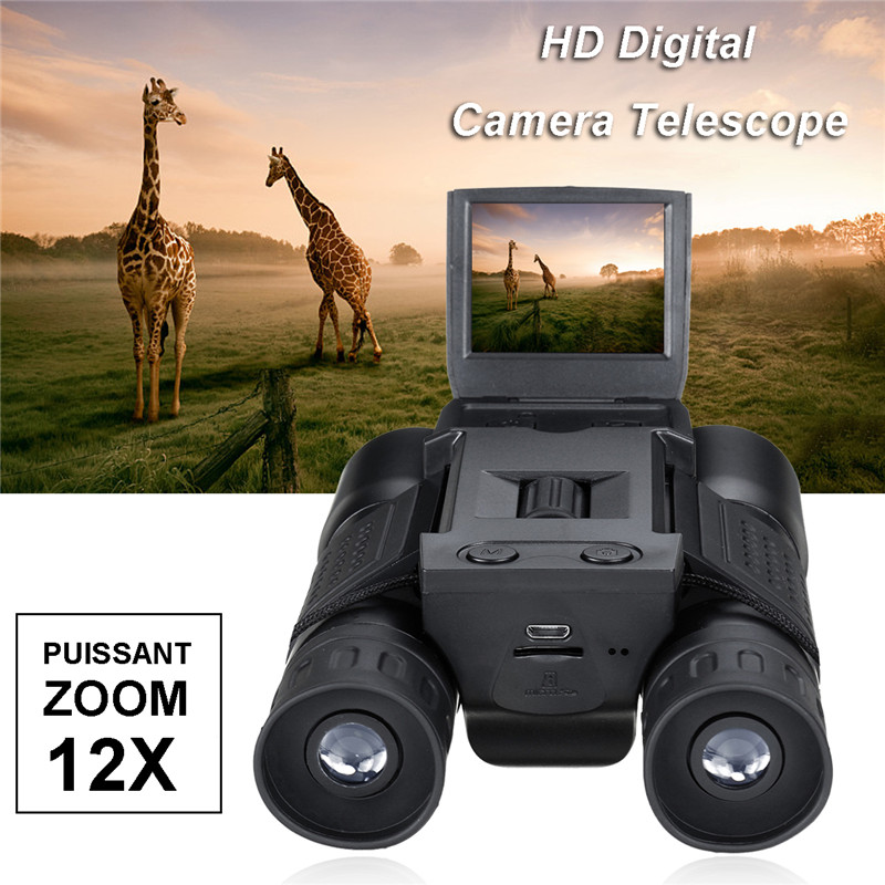 Suncore 1080p 5MP 12X HD Screen Digital Camera Telescope Binoculars Video Camera COMS USB Sensor With Recording Function 2 lcd screen cmos hd 720p usb digital binocular telescope 96m 1000m zoom telescopio dvr binoculars photo camera video recording