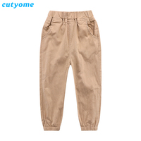 Cutyome Toddlers Kids Clothing Baby Boys Cargo Pants Spring And Autumn Cotton Linen Solid Casual Solid