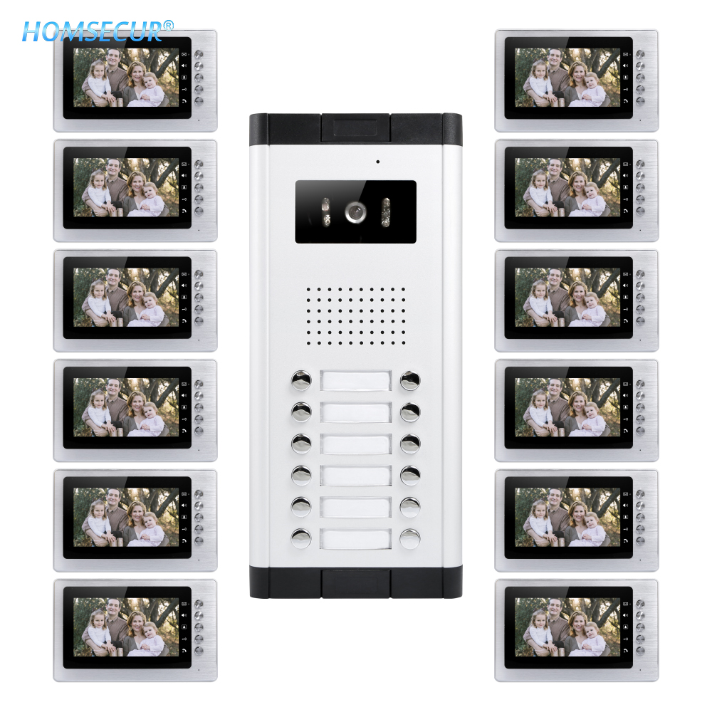 HOMSECUR 7 LCD Video Door Entry Intercom Kit with One Button Unlock for 12 Apartment XM705 + XC061-12HOMSECUR 7 LCD Video Door Entry Intercom Kit with One Button Unlock for 12 Apartment XM705 + XC061-12
