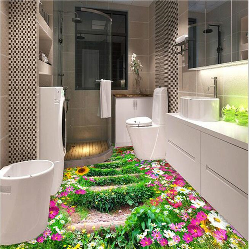 beibehang Bathroom Kitchen 3D floor painting mural wallpaper non-slip waterproof thickened self-adhesive PVC Wallpaper sticker beibehang 3d floor painting bathroom mural romantic pink petals non slip waterproof thickened self adhesive pvc wallpaper