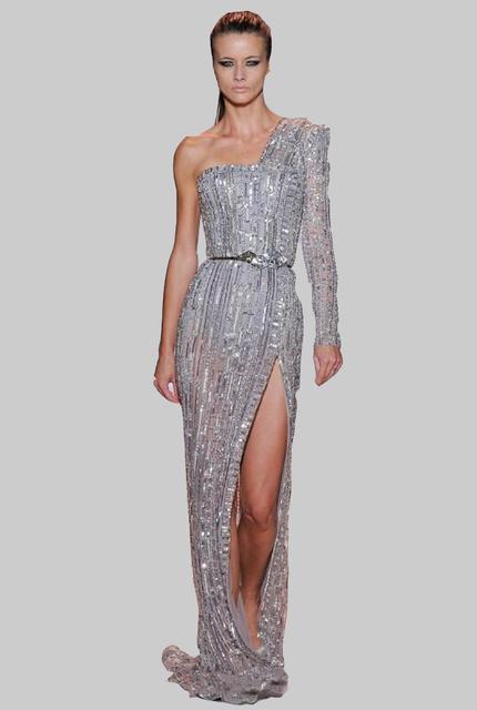 Gorgeous un hombro diseño palabra de longitud Celebrity Dresses rebordear decoración vestidos noche una manga larga de tul Prom vestidos
