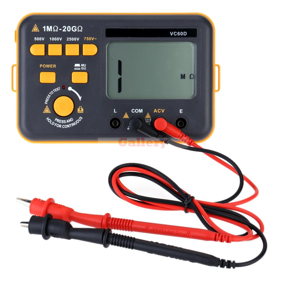 500 V 1000v 2500v Digital Insulation Resistance Tester Megger Megohm Testing Meter Lcd Display  as907a digital insulation tester megger with voltage range 500v 1000v 2500v