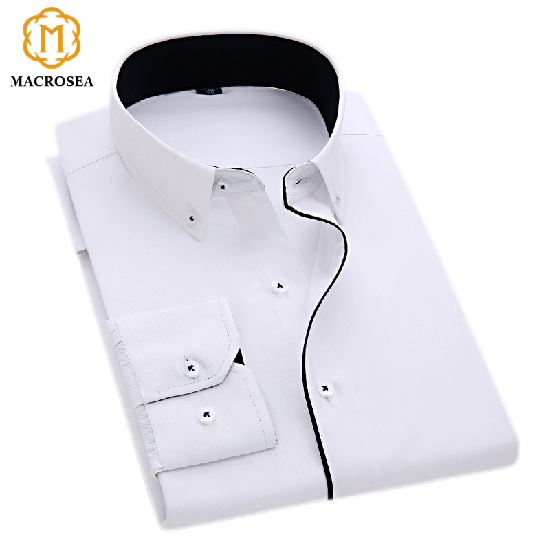 MACROSEA New Arrival Special Design Button Collar Black Line Dress Shirt Men's Business Formal Shirt Solid Color White Buttons