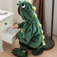 Dinosaur Pajamas Kids Onesie Animal Party Footed Pyjamas Whole Anime Cosplay Costume Flannel Warm Sleepwear Boys