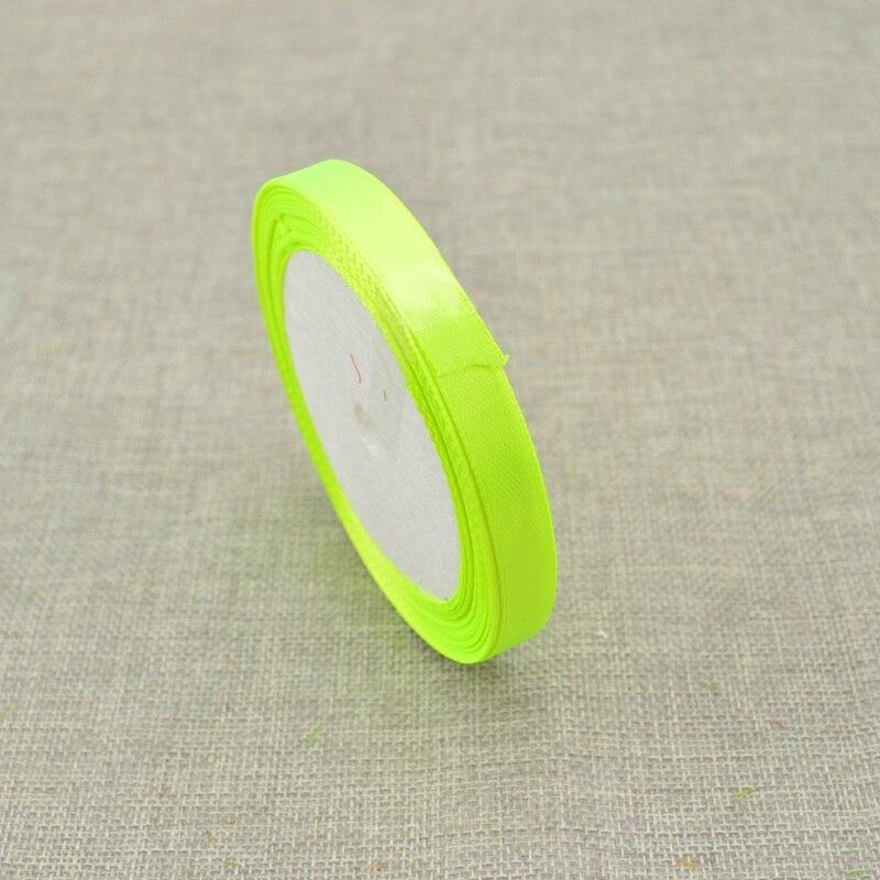 10 мм, 25 ярдов, шелковая атласная лента для свадебного автомобиля, ручная работа, Подарочная коробка для конфет, материалы для украшения, рождественские ленты - Цвет: Fluorescent green