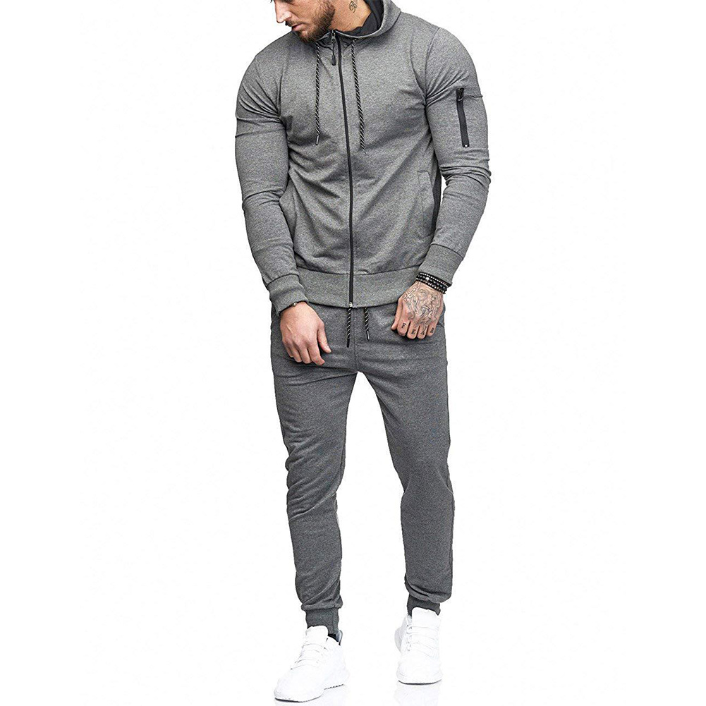 Man Autumn Casual Hoodie Sweatshirt Pant Suit Zip Up Solid Color Drawstring Trouser Suit H9