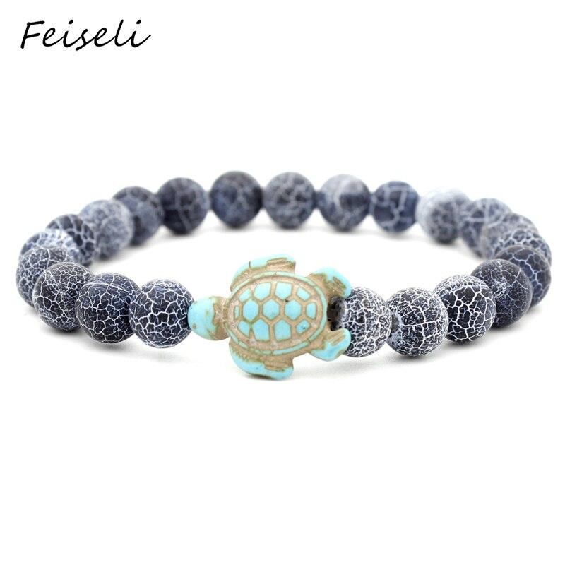 Feiseli Turtle Animal Ornament Natural Stone Beaded Bracelet For Women Lovely Traditional Adjustable Bangle Jewelry Gift
