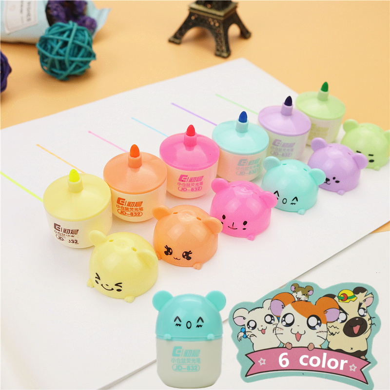 Cute Hamster 6 Color Painting Pen Mini School Office Fluorescent Marker Pen Children's Learning Gifts