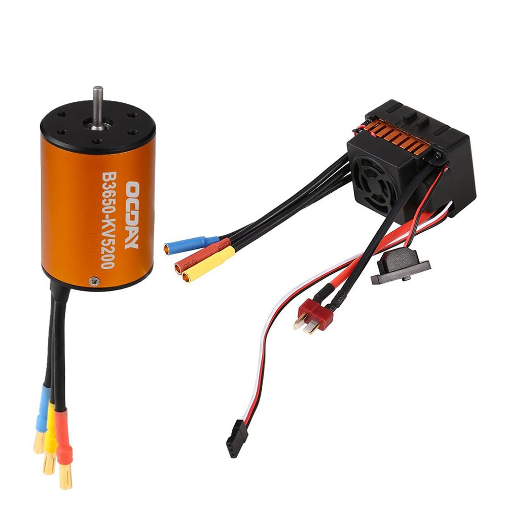 OCDAY 3650 5200KV 4 poles Sensorless Brushless Motor with 60A Electronic Speed Controller Combo Set for 1/10 RC Car and Truck