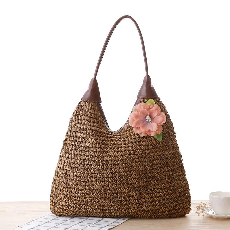 OCEHNUU Summer Vacation Women Beach Bags straw Totes Bag 2020 Bolsa Feminina Big Fashion Women's Bags Shoulder Bag Flower Zipper 5