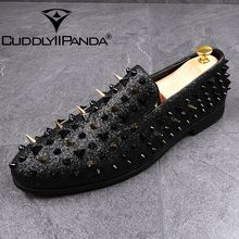 CUDDLYIIPANDA Punk Style Men Loafers Rock Shoes Spring Autumn Men Rivets Fashion Loafers Men Party Wedding Shoes Black Red  Gold