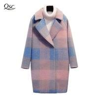 Утепленные длинные Шерстяное пальто Для женщин 2018 новый теплый тонкий Rgular с v образным вырезом и Для женщин s Верхняя одежда модные зимние Оф