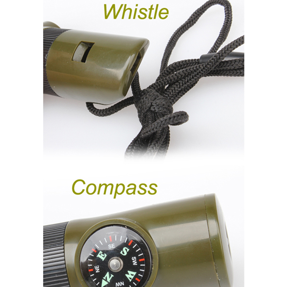 New Arrivals Portable Lightweight Military Whistle With Compass LED Light Outdoor Survival Emergency Disaster-relief Supplies
