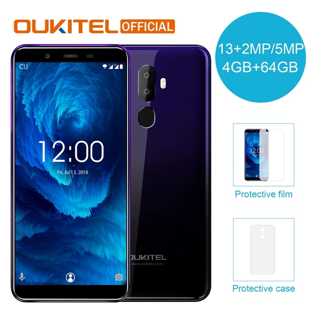 """OUKITEL U25 Pro 5.5"""" 2.5D Incell Display 13MP+2MP/5MP Android 8.1 Mobile Phone MT6750T Octa Core 4G 64G Fingerprint Smartphone"""