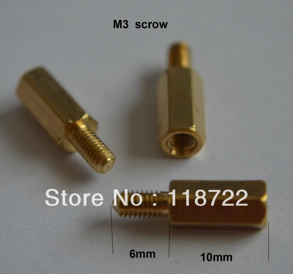 100pcs/lot 6+10 copper pillar Essential copper M3 pillars / 10 mm / M3 / circuit board mounting column electronic component