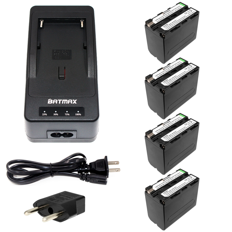 Batmax 4pcs NP-F970 F970 NP-F960 Rechargeable Battery+1Quick Rapid Charger for SONY MVC-FD90 FD91 FD92 HVR-HD1000 F975 F970 F960 4pcs np f970 f970 np f960 rechargeable battery 1quick rapid charger for sony mvc fd90 fd91 fd92 hvr hd1000 f975 f970 f960