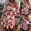 New 2016 Hot Sale Women's Christmas Holiday Santa Claus Print Dress Women Red Floral Print Dresses