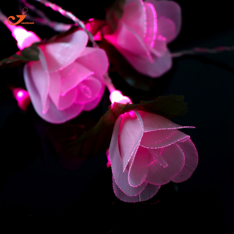 Pink Flower Fairy lights 10pcs LED Rose Romantic Wedding DIY Girl Room Decor Friends Gif ...