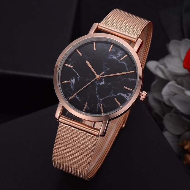 Lvpai Dropshiping Fashion Rose Gold Mesh Band Creative Marble Wrist Watch Casual Women Watches Brand Quartz Gift Relogio 1