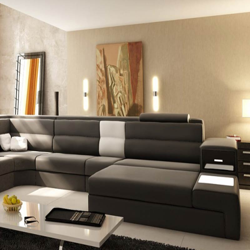 Hot German Style Living Room Furniture Leather Led Light Sectional Sofa With Storage In Sofas From On Aliexpress Alibaba