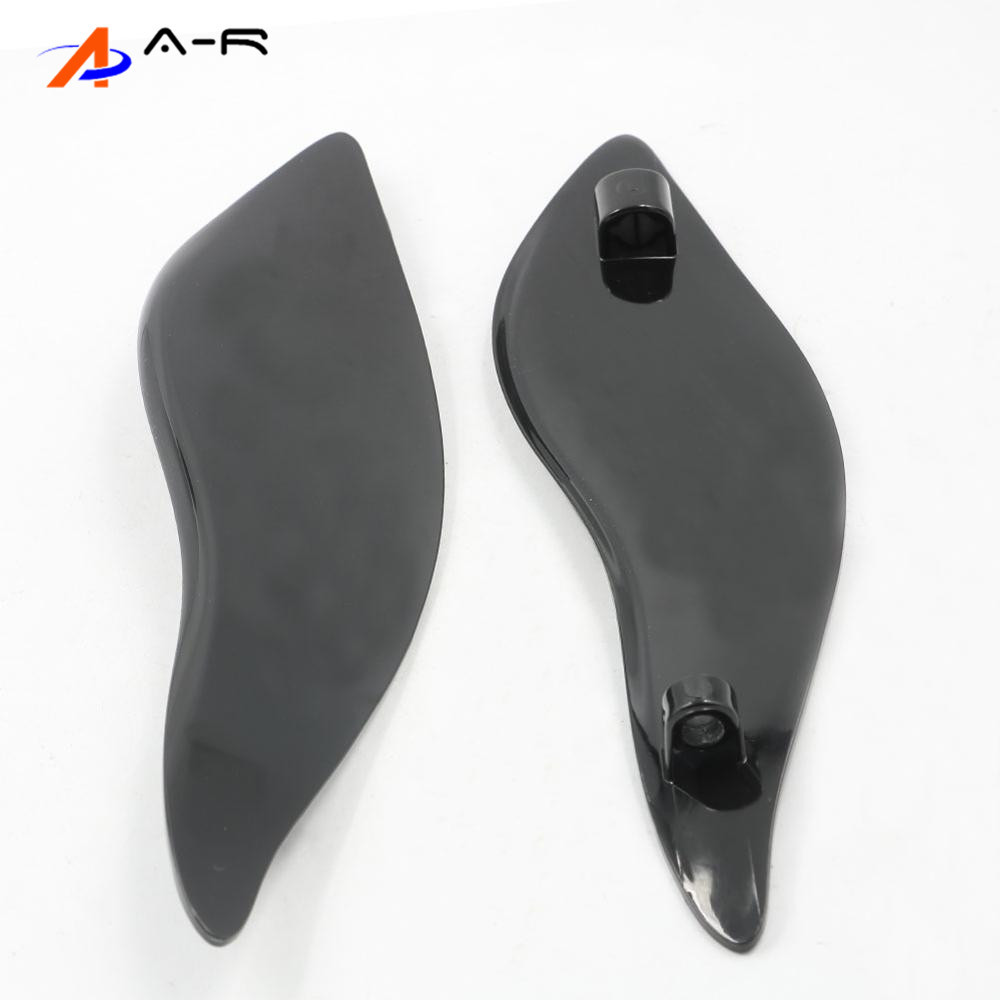 Adjustable ABS Plastic Adjustable Batwing Fairing Windscreen Side Wings Air Deflectors Upper Fairing Windshield For Harley Touring Electra Street Ultra Limited Tri Glide 2014-2017 Smoke Black
