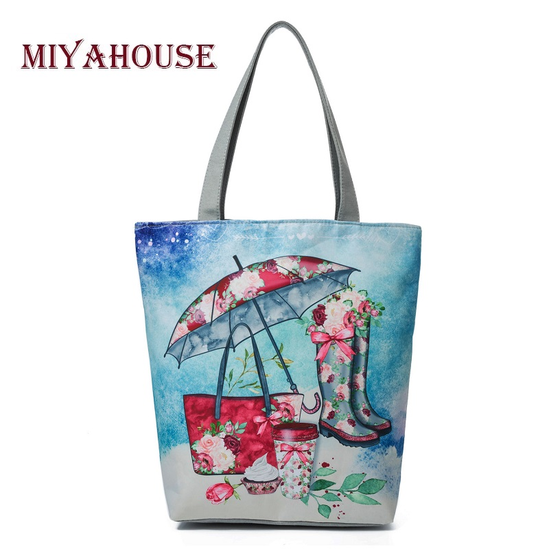 Miyahouse Floral And Umbrella Printed Female Shoulder Bags Canvas Summer Colorful Beach Bag Lady Casual Tote Handbag Women