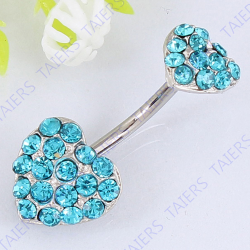 100% True Piercing Nombril Crystal En Acier Chirurgical 316l Strong Packing Body Piercing Jewelry