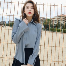 New Fashionable Summer Spring 2019 Loose Chiffon Women Blouse Korean Style Solid Color Casual Long Sleeve Ladies Blue Shirt