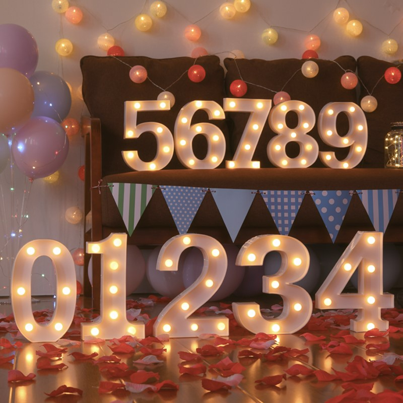 Creative LED  Light 1-9 Numbers  For Birthday Wedding Party DIY Wall Decoration Marquee Lights Lamp Home Culb Outdoor