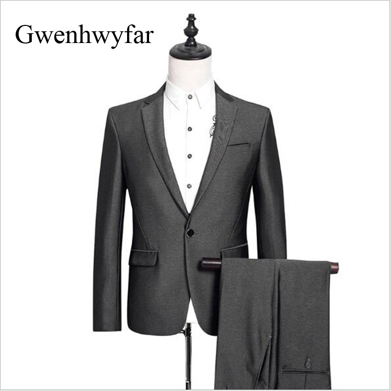 Brand Mens Suits 2018 Slim Fit Sliver Grey Luxury Male Blazer Pants Wedding Suit For Groom Tuxedo Business Party Dress 2 Piece