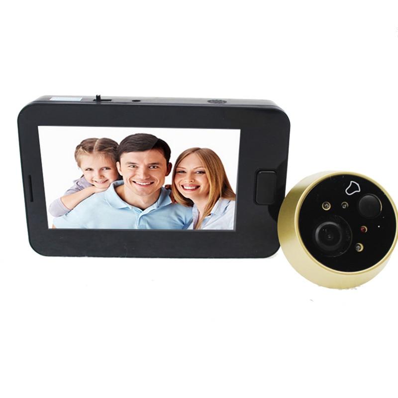 OWGYML 4.3 polegada Tela Colorida Câmera Olho Mágico Da Porta Visor Da Porta Campainha De Vídeo Com Luzes LED De Vídeo Ao Ar Livre Mini Câmera de Segurança