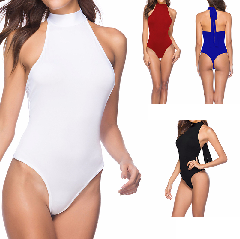 Sexy Womens Turtleneck Club Party Jumpsuits Backless One Piece Bodysuit Top Sleeveless Rompers Thong Jumpsuit Overalls