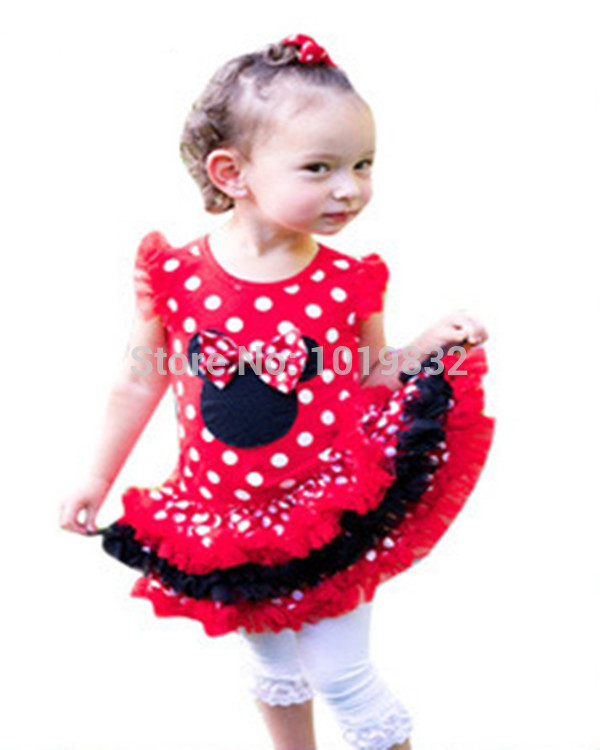Children Girl Minnie Mouse Dresses Hot Pink/White Polka Dot Layered Dress Girl Birthday Party Dresses simba пупс minnie mouse