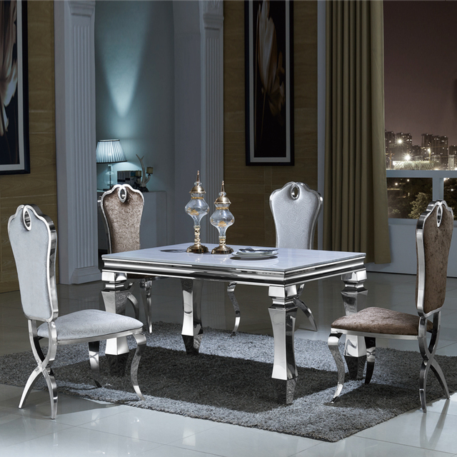 A Combination Of Stainless Steel Marble Dinette Table Small Apartment Minimalist Modern Rectangular Glass Dining