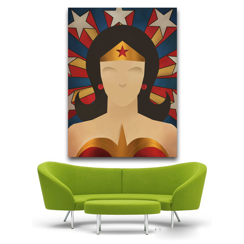free shipping modern cartoon figure Wonderwoman oil painting canvas painting printed on canvas kid room decoration pictures ...