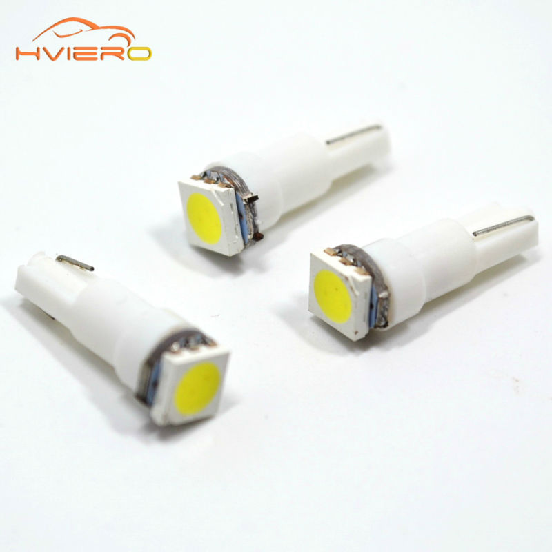 10X T5 5050 1SMD Wedge Dashboard Led White Red Blue Green Yellow Pink Car Auto Light Interior Dashboard Bulb Side Lamps DC 12V
