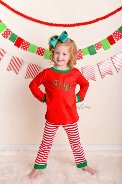 Christmas Outfits.Us 11 99 Monogram Personalized Pants Set Family Christmas Pajamas Matching Christmas Outfits Girls And Boys Pajamas Toddler Shirts In Clothing Sets
