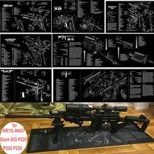 AR15 AK47 пистолет резиновые перчатки для уборки мат W/части схема и инструкции Armorers коврик для верстака коврик для мыши для Glock SIG P220 P226 P229 1911