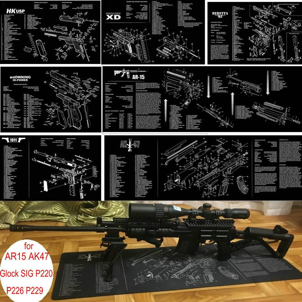 AR15 AK47 pistolet nettoyage tapis en caoutchouc avec diagramme des pièces et Instructions Armorers tapis de banc tapis de souris pour Glock SIG P220 P226 P229 1911