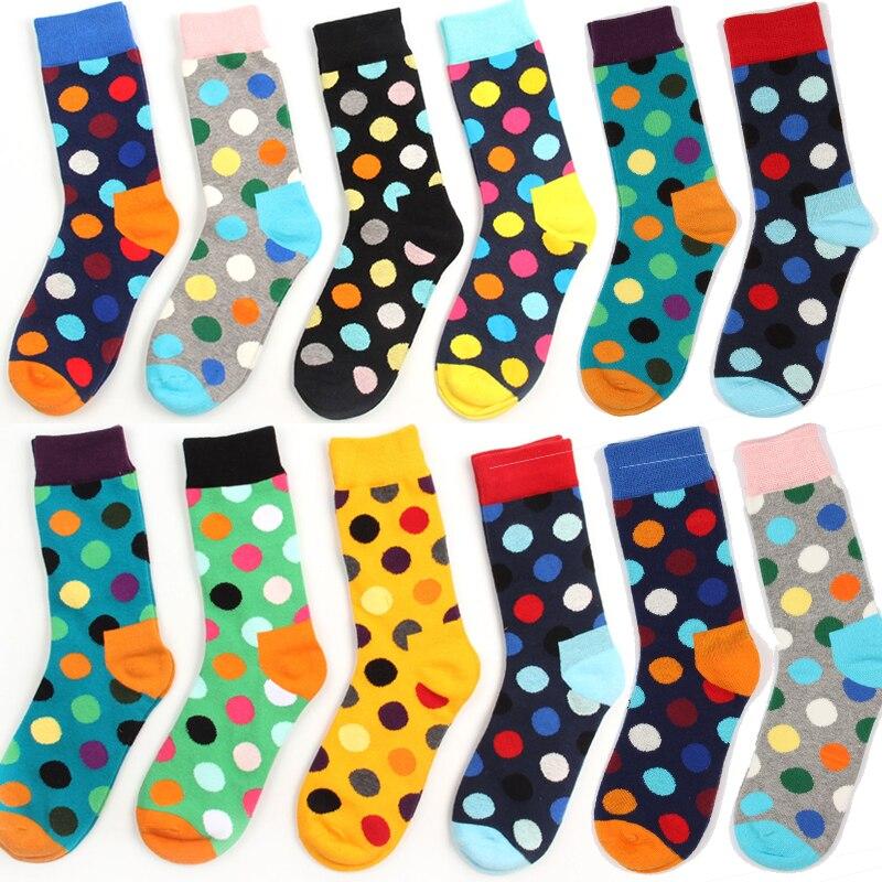 Fashion Happy Men Brand Socks Cotton Colorful Jacquard Contrast Color Leisure Dress Socks gentlemen polka Dot Series masculinas