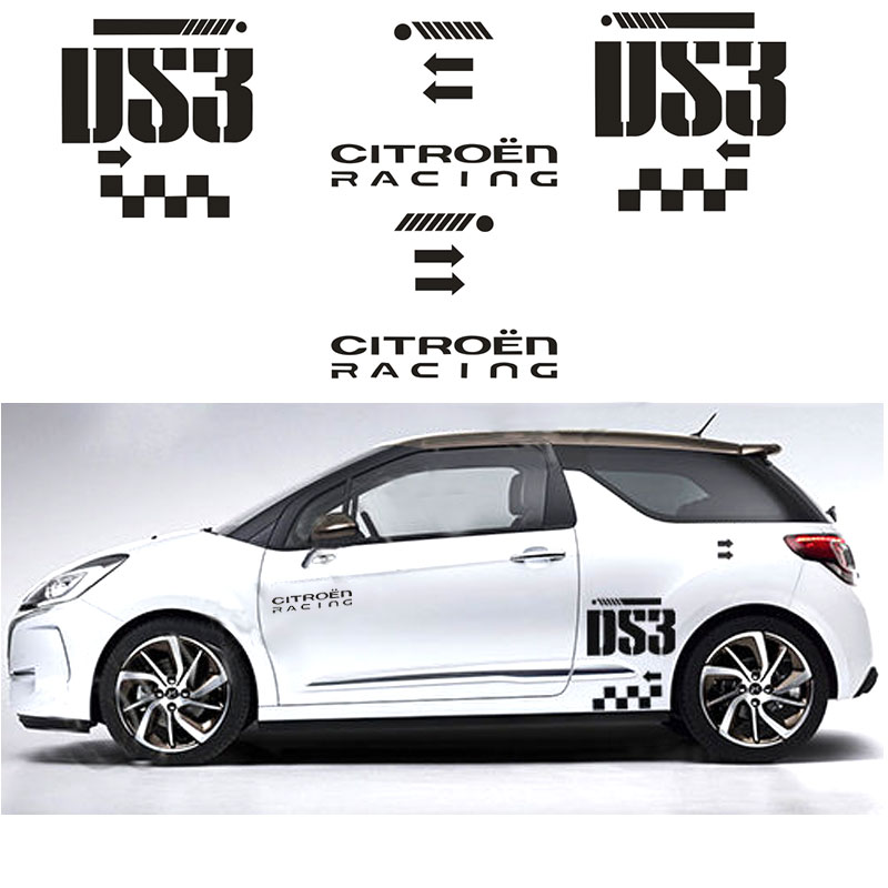 2pcs For Citroen DS3 Side Rally Graphics Decal Car Stickers Car Styling #-0002