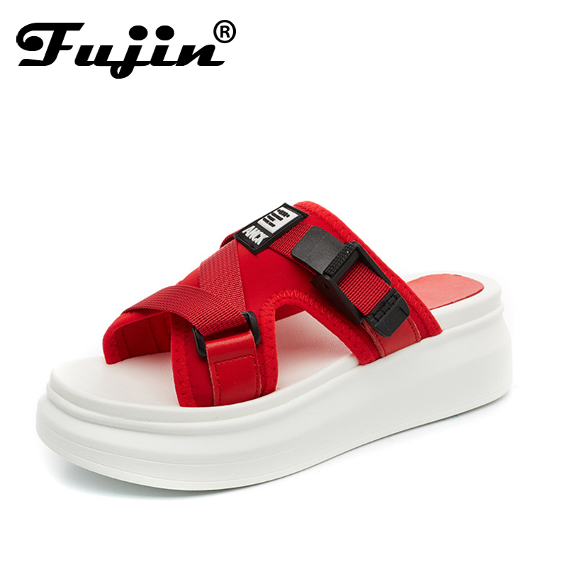 2018 Fujin Summer Platform Slippers Women Lycra Sandals Fashion Brand Outdoors Slippers Shoes New Female Casual Wedges Shoes phyanic 2017 gladiator sandals gold silver shoes woman summer platform wedges glitters creepers casual women shoes phy3323