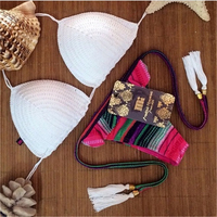 Summer Style 2016 Womens Swimwear Sexy Bikinis Set Knitting Swimsuit Tassel Crochet Thong Bikini Brazilian Biquinis