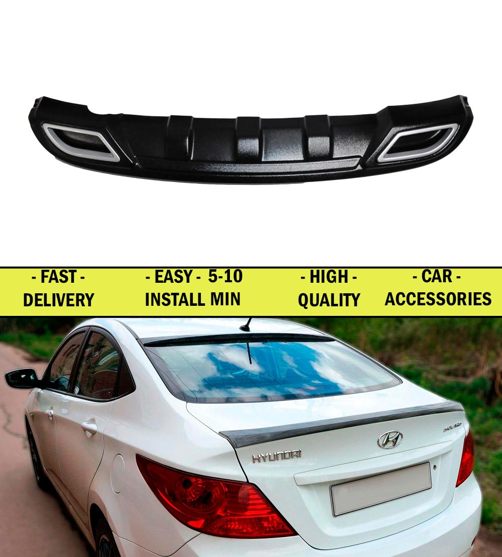 Diffuser for Hyundai Solaris 2011-2012-2013 pad on the rear bumper ABS plastic sports styles aerodynamic wing car styling