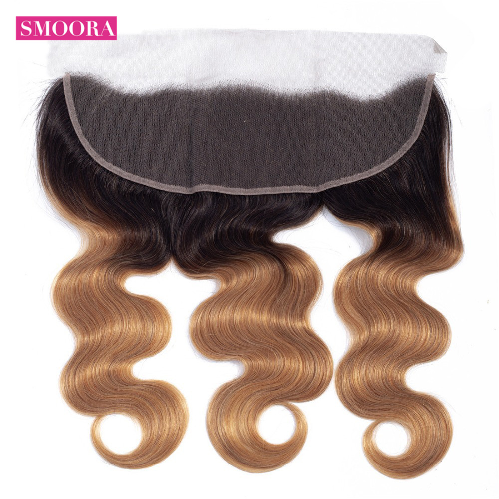 Ombre Blonde Body Wave Frontal Closure 13 4 Brazilian Non Remy 100 Human Hair Frontals Free